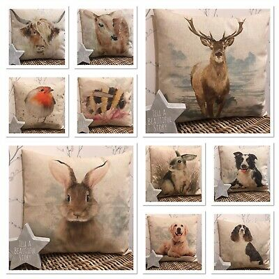 £8.50 • Buy Chatham Glyn Country Natural Linen Look Animal Friends Cushion Covers 16x16