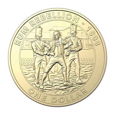 AU12 • Buy Australia 2019 The Rum Rebellion $1 Dollar UNC Coin Carded