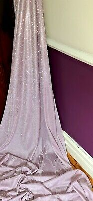 £7 • Buy 1MTR  MOON LIGHT BABY PINK Sparkly Glitter Stretch Fabric 58wide Dress Bridal