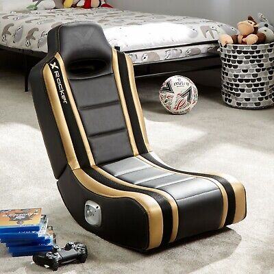 X Rocker Gaming Chair For Kids 2.0 Speakers Folding Floor Seat Shadow Gold • 89.99£