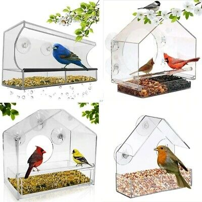 Window Bird Feeder Refillable Sliding Tray Weather Proof Bird Squirrel Feeder • 42.36£