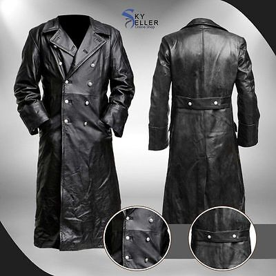 German Classic Officer WW2 Military Uniform Black Leather Trench Coat • 149.99£