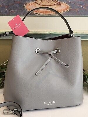 $ CDN158.20 • Buy Kate Spade Eva Large Bucket Shoulder Tote Bag Hobo Crossbody Grey Leather