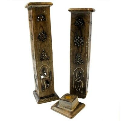 £9.45 • Buy Wooden Smoke Tower - Incense Cone And Stick Holder, Burner