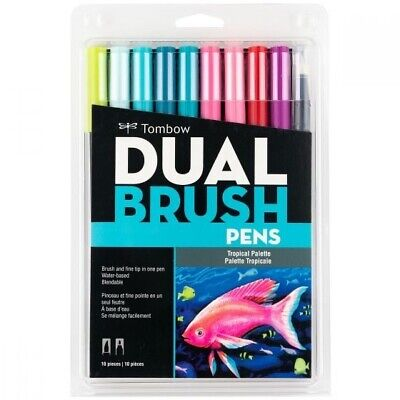 AU15.51 • Buy Tombow Dual Brush Pen Art Markers 10-Pack, Tropical Palette