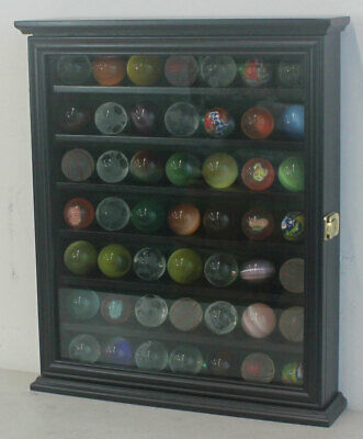 Marble/Bouncy Ball Display Case Rack Cabinet With Glass Door, Black Finish • 57.85£