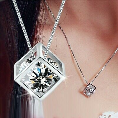 AU19.56 • Buy Platted Silver Necklace Valentines Day Gift For Her Mom Wife Girlfriend