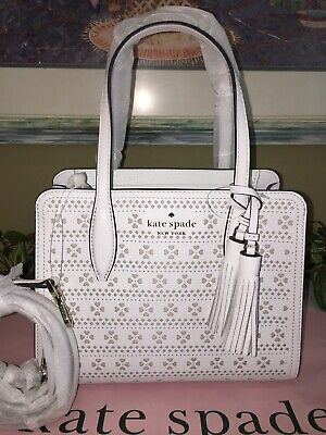$ CDN145.89 • Buy Kate Spade Rowe Small Zip Satchel Tote Crossbody Bag White Perforated Leather