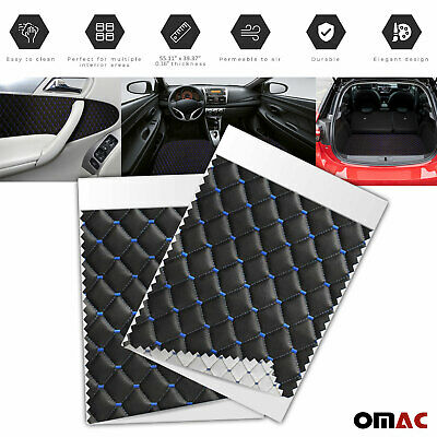 £35.42 • Buy Embossed Black Faux Leather Lining Blue Stitch Car Upholstery Fabric 55x39 Inch