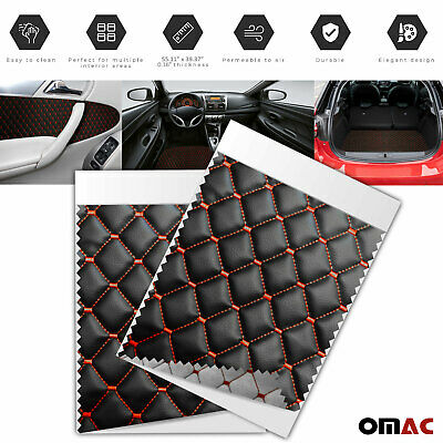 £35.42 • Buy 55x39 Inch Embossed Black Faux Leather Lining Red Diamond Stitch Car Upholstery