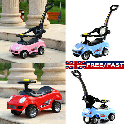 Kids Children 3in1 Musical Ride On Car Walker Push Along Toy With Parent Handle • 28.99£