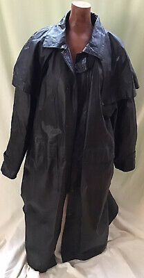 $120 • Buy Mens Long Black Leather Western Cowboy Duster Steam Punk Trench Coat Cosplay L
