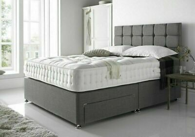 £218.03 • Buy Modern Chenille Fabric Divan Bed Silver Charcoal 3ft 4ft 4ft6 Double 5ft King