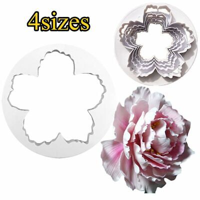 4Pcs Peony Flower Petal Shape Cutter Fondant Cake Sugar Paste Icing Cutting Tool • 4.72£