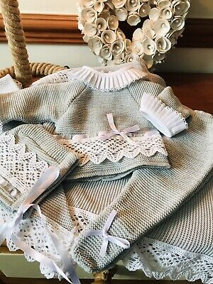 Premature BabyTraditional Baby Knitted Grey & White 3 Piece Suit.Matching Bonnet • 22£