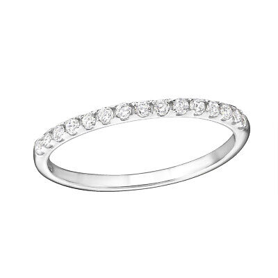 Clear Crystal Skinny Band Sterling Silver Ring 1.5mm • 12£
