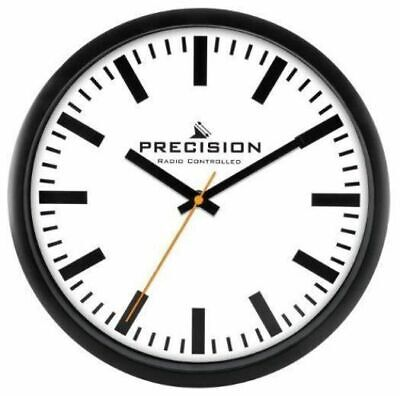 £14.95 • Buy Precision Large & Clear Analogue Radio Controlled 30.5cm Black Wall Clock