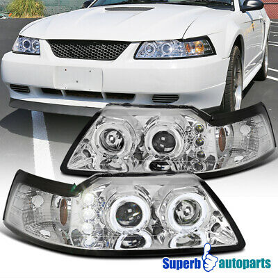 $100.98 • Buy For 1999-2004 Ford Mustang Dual Halo Projector Headlights Lamps Pair