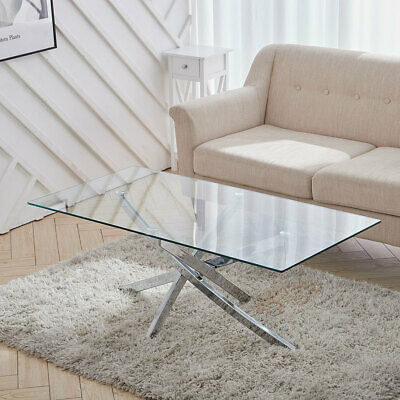 Coffee Table Modern Clear Tempered Glass & Cross Chrome Leg Living Room Table • 105.95£