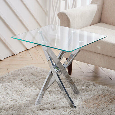Modern Clear Tempered Glass End Table Sofa Side Coffee Table With Chrome Legs • 79.95£