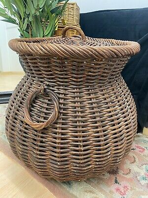 Large Vintage Wicker Bamboo Storage Wash Basket With Lid & Handles MK17  • 39.99£