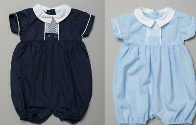 £12.50 • Buy Baby Boys Clothes Spanish Style Smocked Romper /blue Rock A Bye  0 - 9 Months