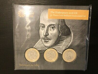 2016 William Shakespeare £2 Two Pound Three Coin Set Royal Mint Pack Sealed • 45£