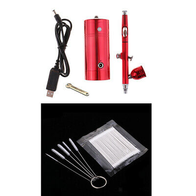 $39.93 • Buy Dual-Action 0.3mm Gravity Feed Airbrush Compressor Kit USB Charge Battery Set