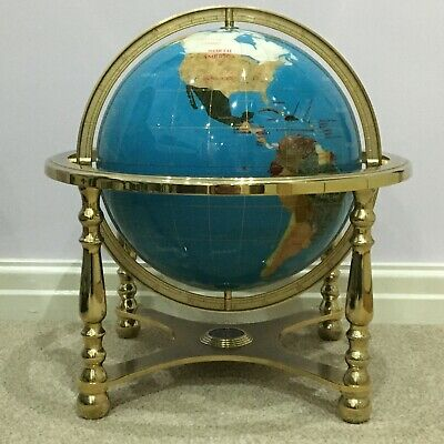 Fabulous Large Lapis & Agate Gemstone Handcrafted Compass Globe On Brass Stand • 599.99£