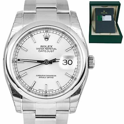 $ CDN8111.26 • Buy 2016 MINT Rolex DateJust 36mm Silver Stick Stainless Steel Oyster Watch 116200