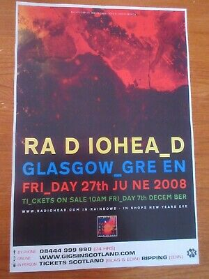 $13.76 • Buy RADIOHEAD - GLASGOW 27th June 2008 LIVE MUSIC CONCERT/GIG POSTER