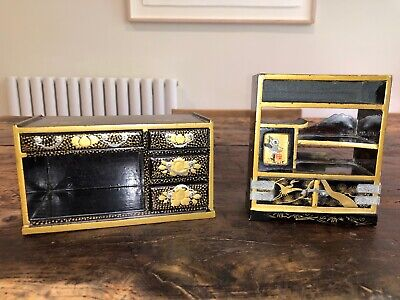 C1950 Vintage Black Lacquer Gold Gilt Japanese Dolls House Furniture Cupboards • 100£