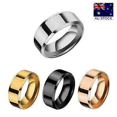 AU5.99 • Buy Stainless Steel Titanium 8mm High Polished Wedding Band Comfort Ring Men Women