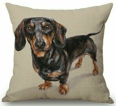 DACHSHUND Sausage DOG Art Doxie Painting LINEN COTTON CUSHION COVER, UK Seller • 6.99£