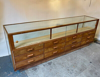 £1100 • Buy Haberdashery Shop Cabinet Counter With Sliding Drawers And Brass & Copper Trim