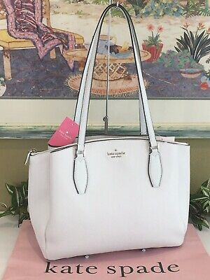 $ CDN177.19 • Buy Kate Spade Monet Large Triple Compartment Tote Shoulder Bag Purse White Leather