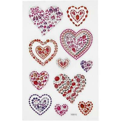£3.29 • Buy Sparkly Heart Gem Craft Stickers Embleshments Adhesive Backed