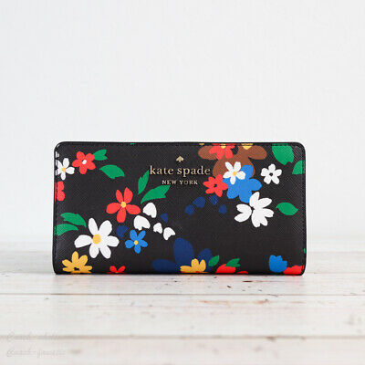 $ CDN75.69 • Buy NWT Kate Spade Staci Sailing Floral Slim Bifold Wallet In Black Multi
