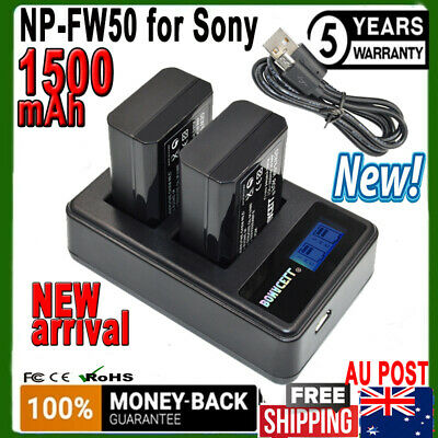 AU28.99 • Buy 2X 1.5AH NP-FW50 Battery +Dual Charger For Sony Alpha A5000 A6000 A7 A7R A3000 H