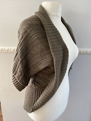 £8 • Buy Jane Norman Taupe Knitted Slouchy Cardigan Shrug One Size 16 -18 Cable Knit