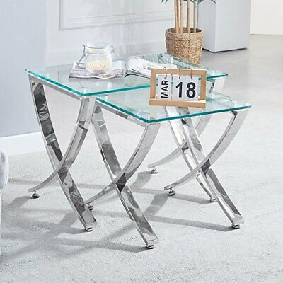 Vienna Clear Glass Nest Of Tables With Angular Chrome Legs • 249.95£