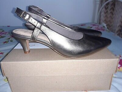 Clarks Ladies Sling Back Heels Metallic Pewter Shoes - Size 4.5 - Linvale Loop • 18.99£