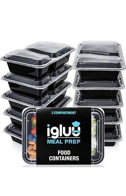 Igluu Meal Prep Food Containers 2 Compartment [10 Pc] BPA Free Bento Lunch Box • 10£
