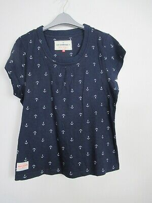 New Brakeburn Navy Anchor Print T Shirt Top Size 16 • 14.99£