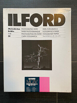 ILFORD MGIV MULTIGRADE IV RC GLOSSY 8x10in 50 SHEETS 8x10 PAPER B&W PRINTING • 15£