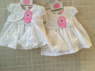 £8.50 • Buy Spanish Style  Baby Girls Dress And Knickers Hat White Floral 0- Newborn - 3-6 M