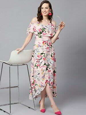 Sassafras Women's Crepe Fit And Flare Floral Layered High Low Maxi Dress • 14.99£