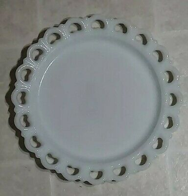 """$22.40 • Buy Milk Glass Heart Lace Cake Plate, Vintage, Large Round Serving Platter, 13"""""""