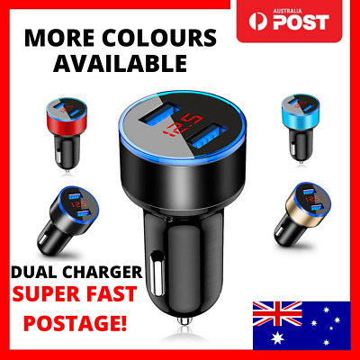 AU7.95 • Buy Double Car Charger Usb Twin 2 Port Display Dual 12-24v Cigarette Lighter Socket