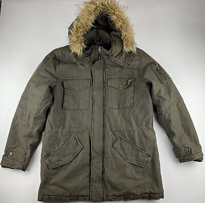 £46.13 • Buy GUESS Faux Fur Hooded Thick Insulated Solid Army Green Jacket Coat Men Large